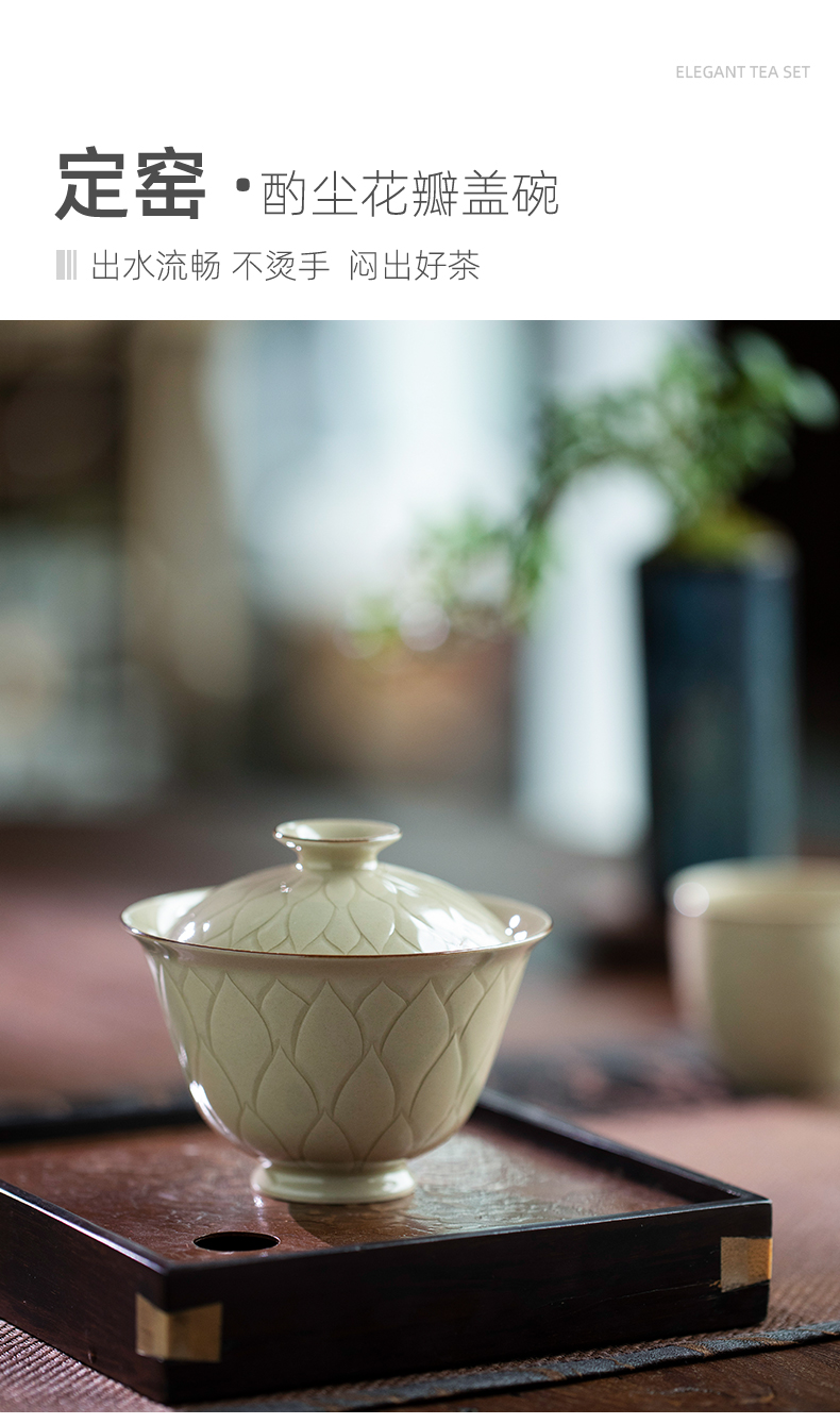 Up with petals only two tureen jingdezhen ceramics single bowl with cover high - end tea tureen tea bowl