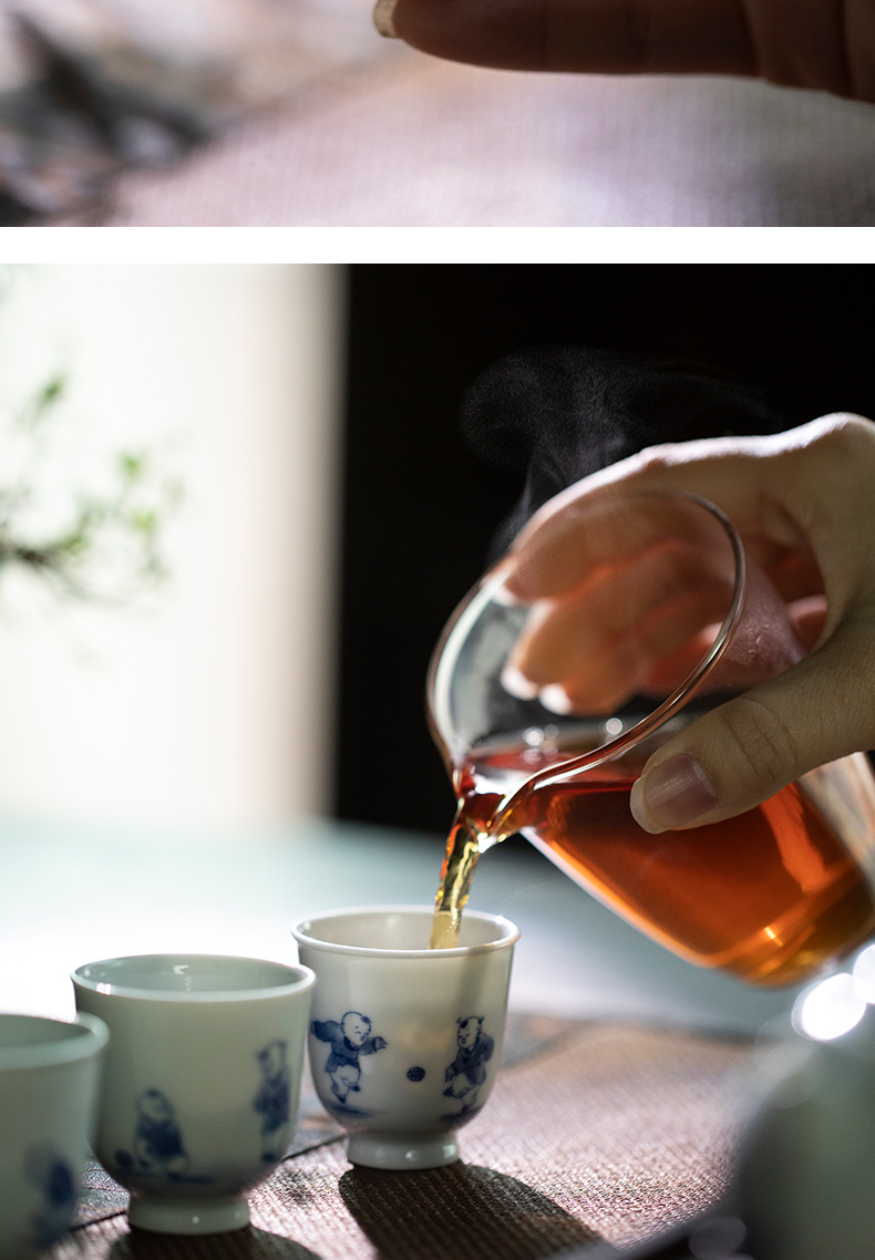 Mountain sound jingdezhen pure manual hand - made antique blue - and - white tong qu cup 50 ml sample tea cup high - end master cup single CPU