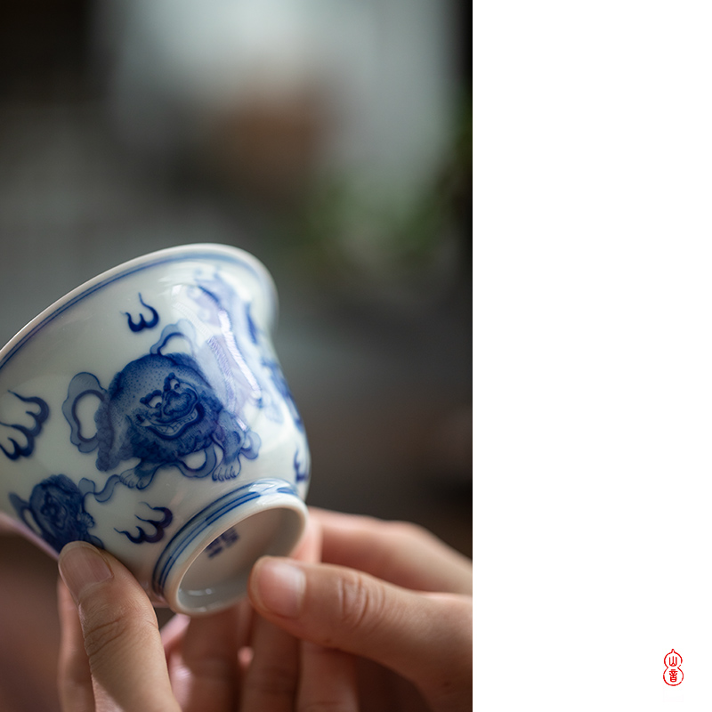 Day green room only three lion two tureen jingdezhen high temperature ceramic tureen tea bowl of blue and white porcelain bowl