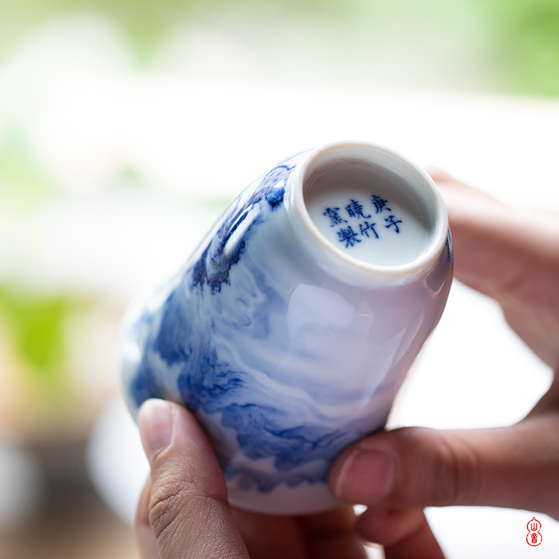 Xiao hua mu LAN fragrance - smelling cup bamboo up jingdezhen blue and white master cup kung fu tea set a single hand - made of ceramic cups