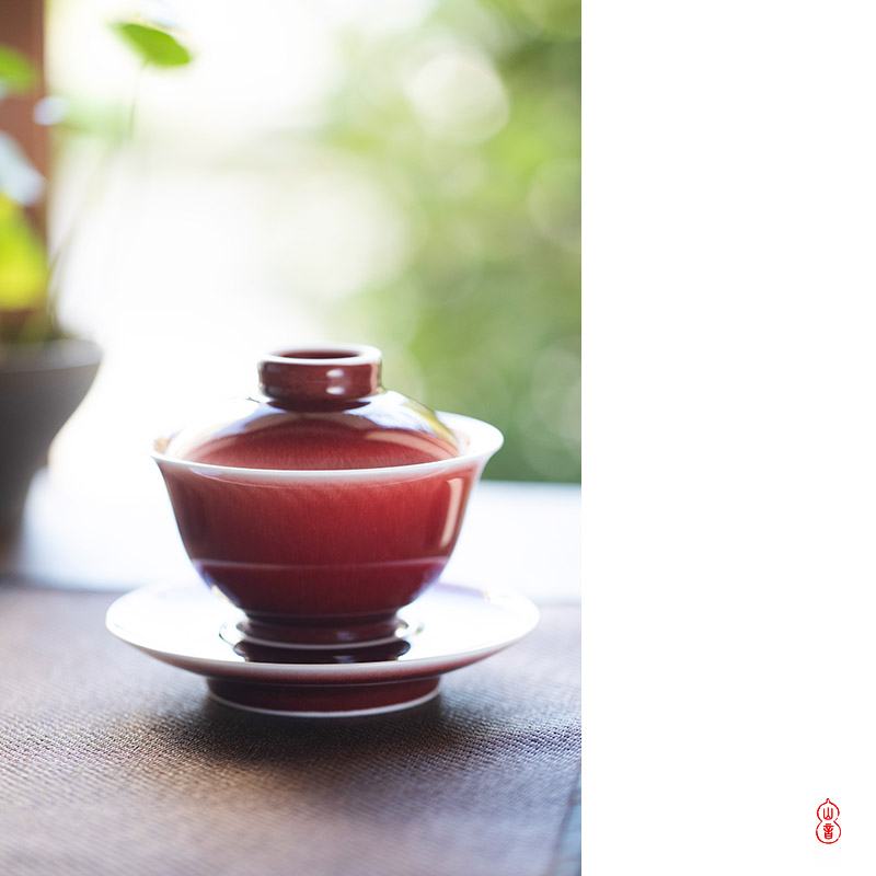 The View only tureen hall tureen jingdezhen checking ceramic three single bowl tea bowl of kung fu tea set