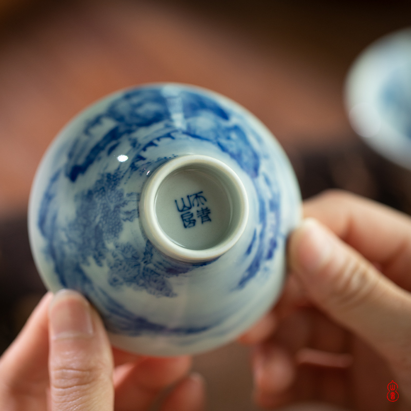 Castle peak day room jingdezhen blue and white landscape painting perfectly playable cup inside and outside hand - made porcelain kung fu tea cups sample tea cup