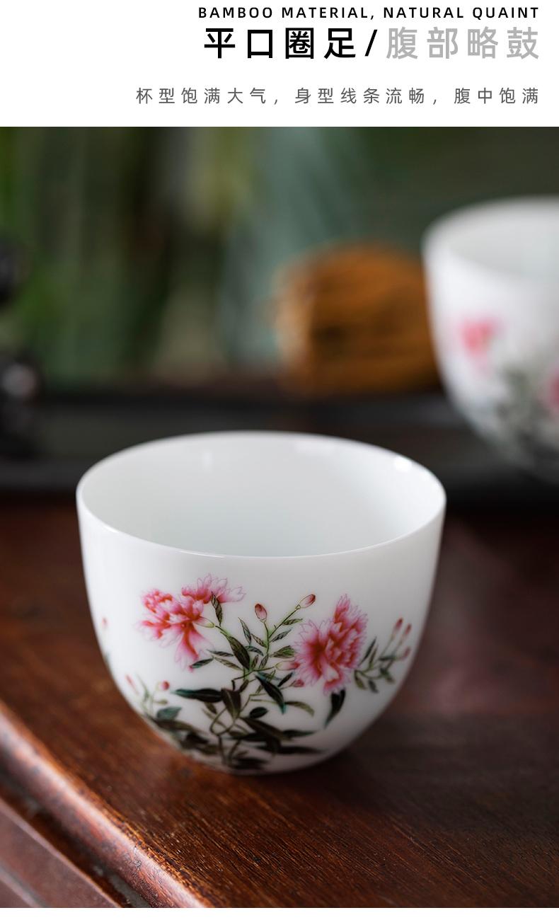 Spring deep sample tea cup pure manual painting kung fu tea cups jingdezhen household small cups ceramic tea set