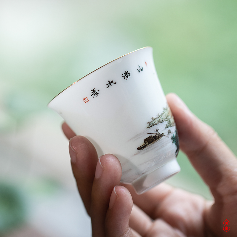 Royal maple hall pastel hand - made scenery of jingdezhen checking ceramic cups master CPU high - end sample tea cup