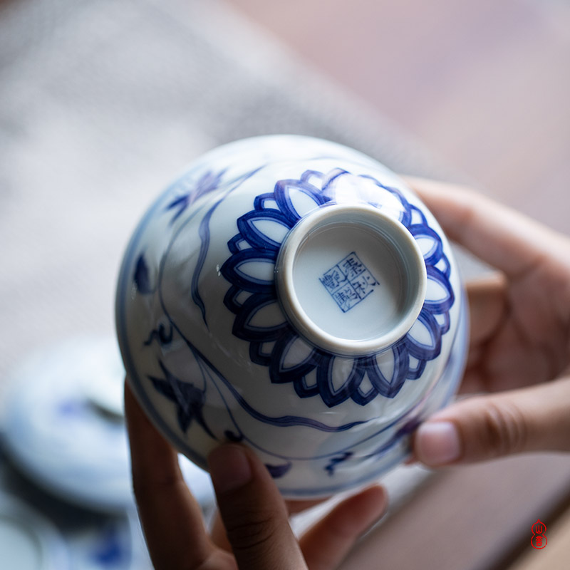 Jingdezhen blue and white day lilies Qin Qiuyan lines only three tureen high - end tea tureen single cup bowl