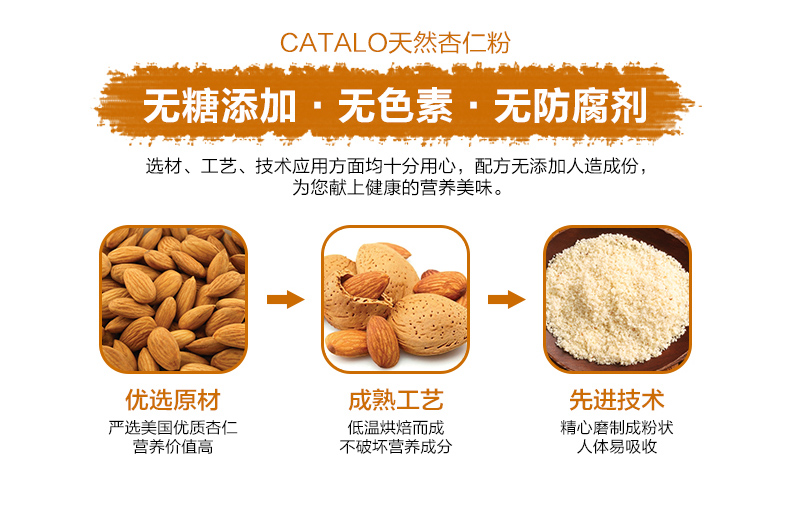 CATALO高钙天然扁桃仁杏仁粉有机燕麦粉 关爱父母 第6张
