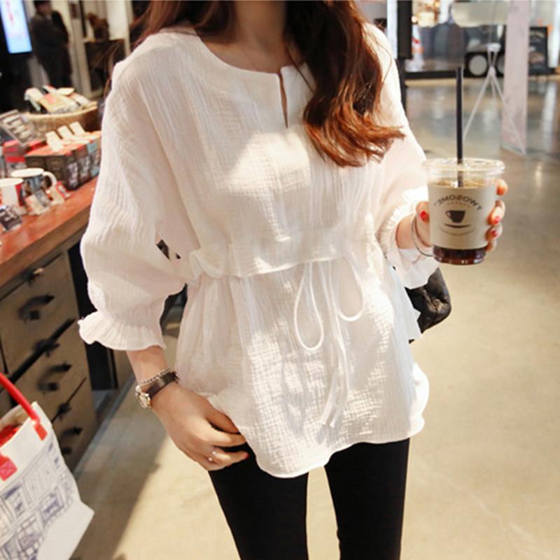 Áo sơ mi cotton mùa hè của phụ nữ mới kích thước lớn áo sơ mi nhỏ lỏng lẻo hoang dã chạm đáy áo thun lanh áo sơ mi trắng - Áo sơ mi