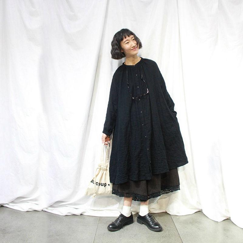 森系开衫衬衣棉纱A型双层长袖连衣裙宽松廓形大码中长款圆领衬衫