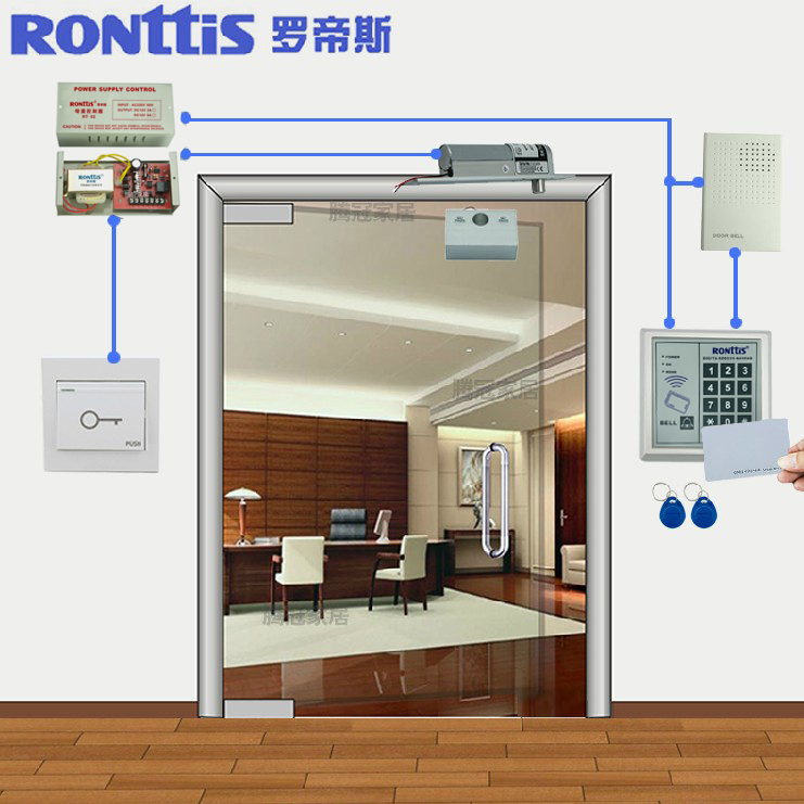 Ronttis Rhodes Access Control System Door Lock Magnetic Set Glass Credit Card Password Electronic