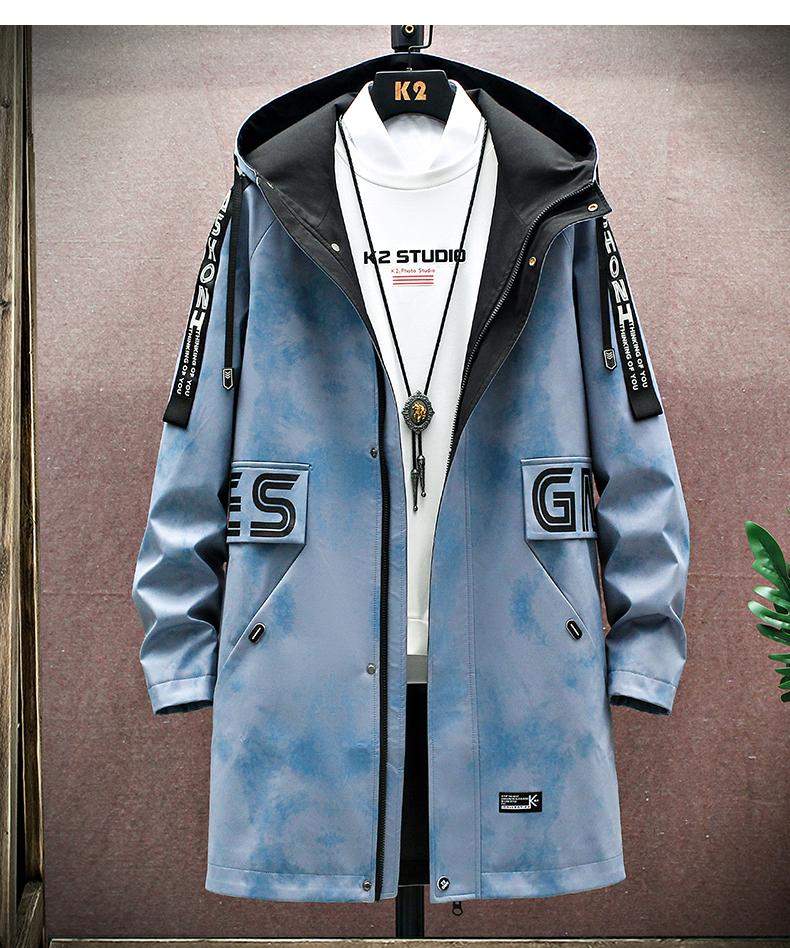 Medium-length windcoat jacket men's 2020 new teen Korean version trend plus velvet plus thick autumn and winter jacket top 56 Online shopping Bangladesh