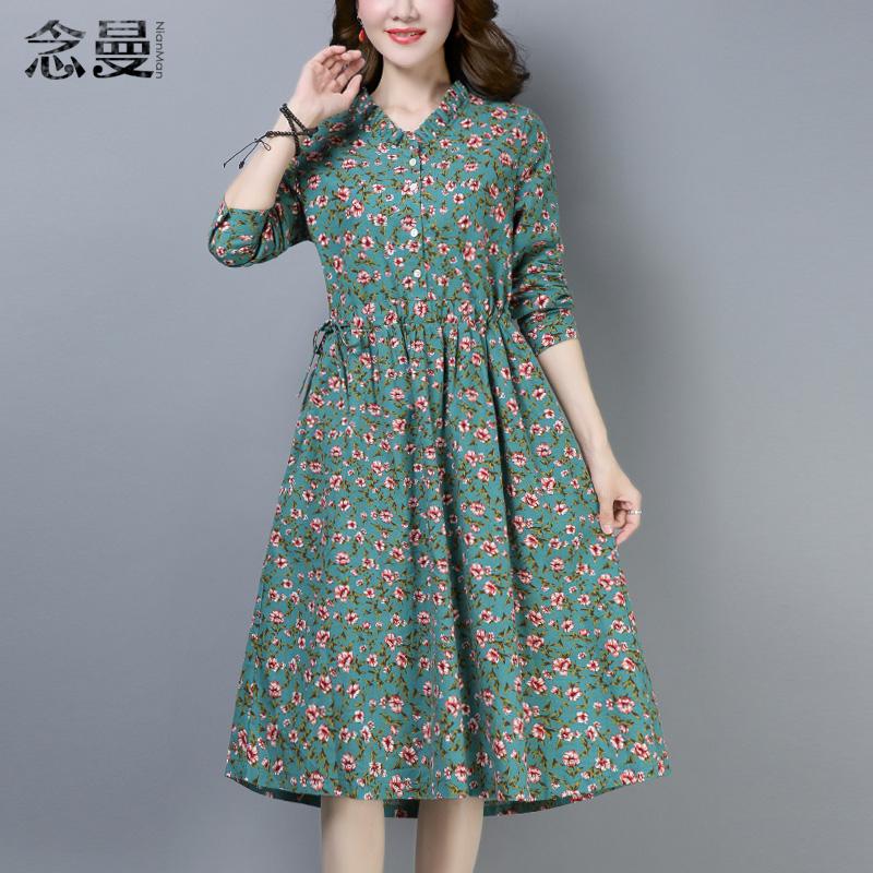 Цветочные платья женские длинный рукав фасон средней длины стиль 2018 новая коллекция Осенняя одежда корейская версия Свободная талия чистый хлопок демисезонный Юбка прилива