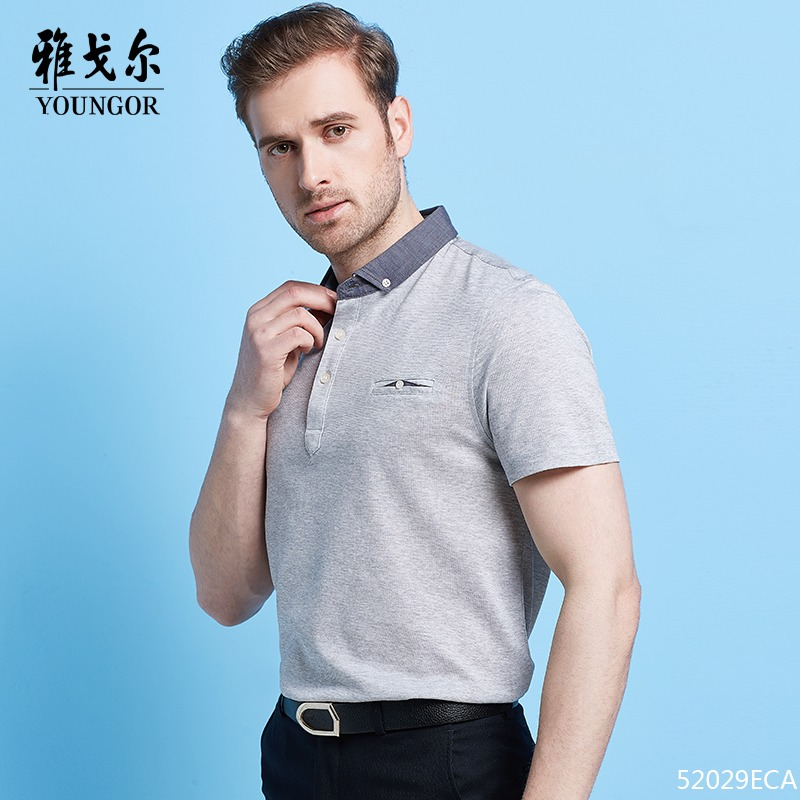 3494fb41857 Youngor   Youngor short-sleeved lapel T-shirt summer striped men s POLO  shirt middle-aged business casual clothes
