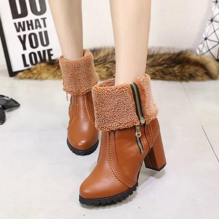 秋冬新款中筒皮靴侧拉链高帮女鞋高跟及裸靴圆头粗跟马丁靴子