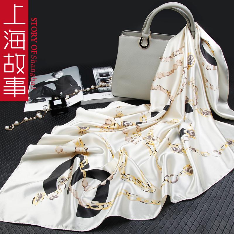 上海故事旗舰店小丝巾女士时尚款冬季大方巾正方形百搭米白色围巾