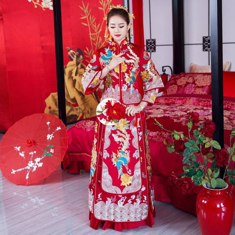 =Chinese wedding dress wedding dress show thin dragon and Phoenix jacket