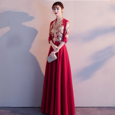 Marriage toast into wine dress Chinese style wine Princess out of cabinet dress bridal dress modern Traditional Chinese Clothing