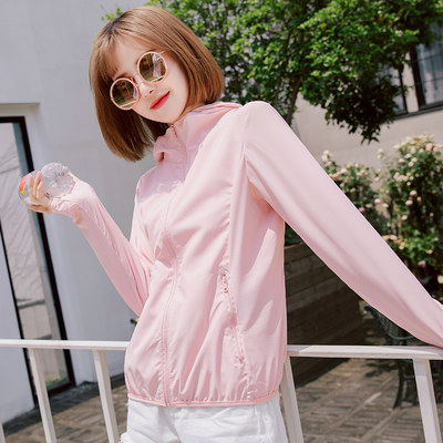 Sunscreen women 2021 new summer short long sleeve breathable wild sunscreen thin section with cap ice silk jacket tide