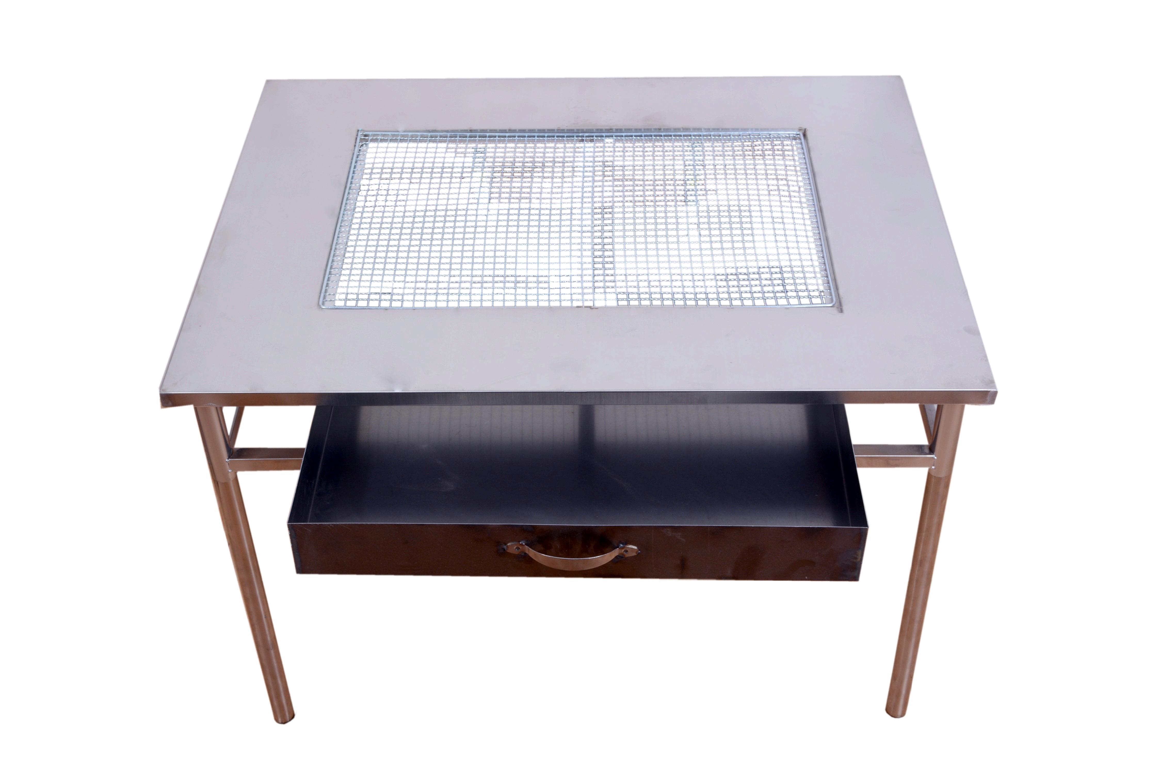 长方形自助户外折叠木炭有烟 不锈钢烧烤架 桌子烤炉 夜市商家用