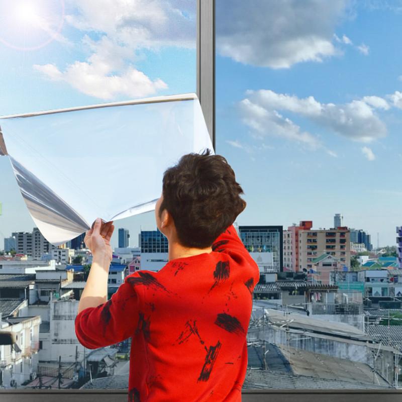 玻璃贴纸遮光防晒隔热膜家用阳台窗户贴纸单向透视反光遮阳膜自粘