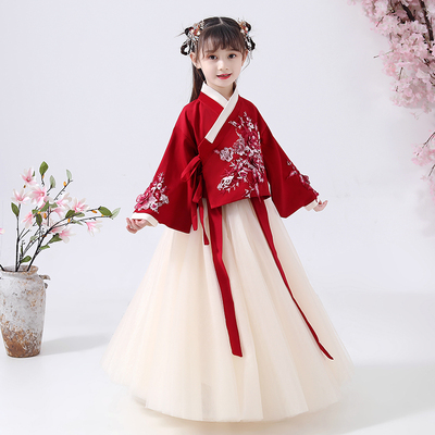 Childrens Hanfu clothing Ru skirt childrens Ming made jacket and skirt ancient dress girls Chinese style dress performance dress super immortal Tang costume