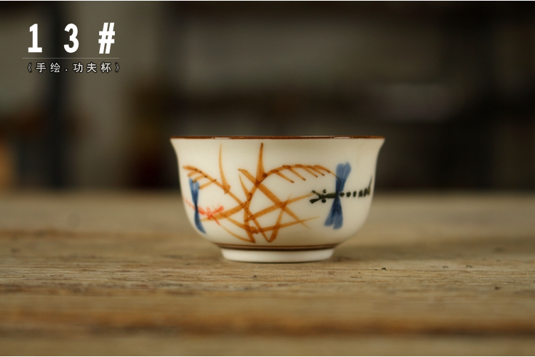 Chaoshan kungfu cup hand - made excessive penetration small ceramic bowl sample tea cup 90 s old chaozhou sip small cups
