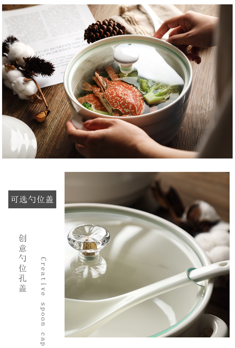 Household 8 inches ears ceramic bowl microwave soup pot with cover creative large pure white soup basin package mail