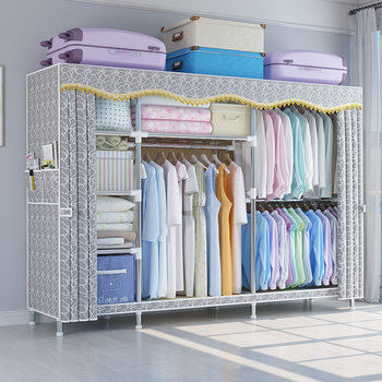 Simple cloth wardrobe steel tube bold reinforced double steel frame economical rental room storage cabinet dormitory wardrobe