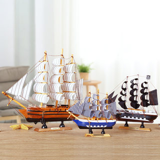 Smooth sailing model birthday gift wooden boat decoration craft boat pirate fishing boat boat decoration decoration sailing boat