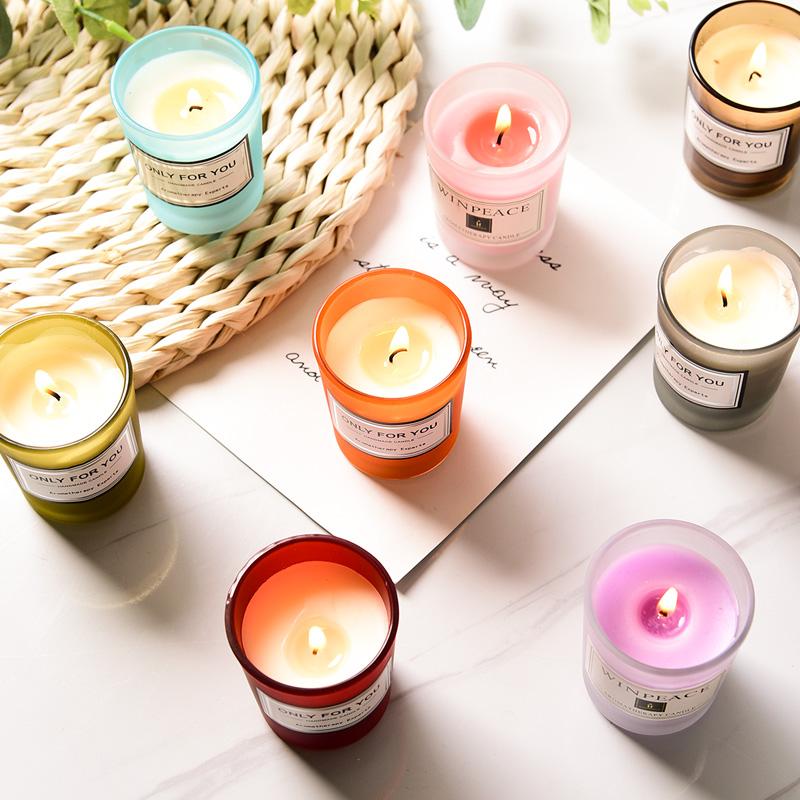 北欧香薰蜡烛家用助眠室内安神卧室女生持久睡眠小众浪漫香氛礼物