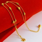 Genuine Gold Anklet 999 Pure Gold Women's Long Bracelet Beaded Transfer Beads Heart Shaped with Bell Summer Jewelry