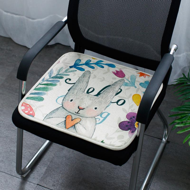 夏季透气四季通用坐垫卡通棉麻坐垫沙发垫办公室椅子垫凉席冰丝垫