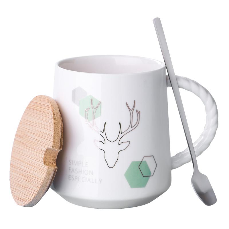 【带盖勺】ins北欧鹿角陶瓷杯子