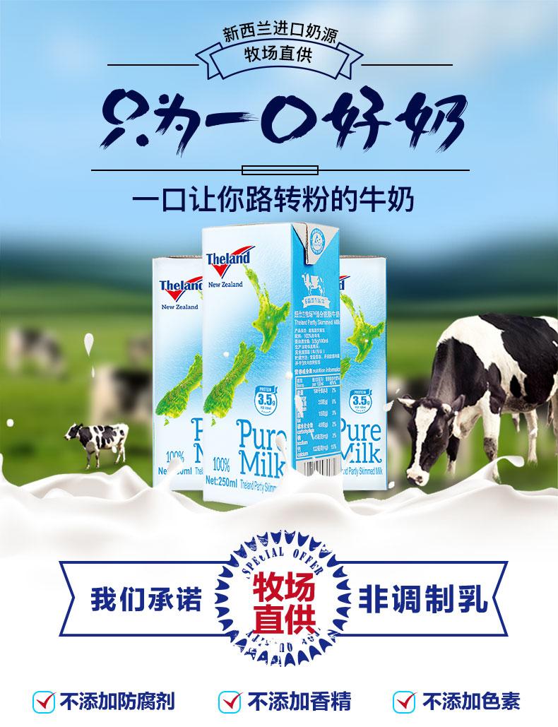 新西兰进口 Theland 纽仕兰牧场 3.5g 低脂纯牛奶 250ml*24盒*3件 聚划算多重优惠折后¥136.03包邮