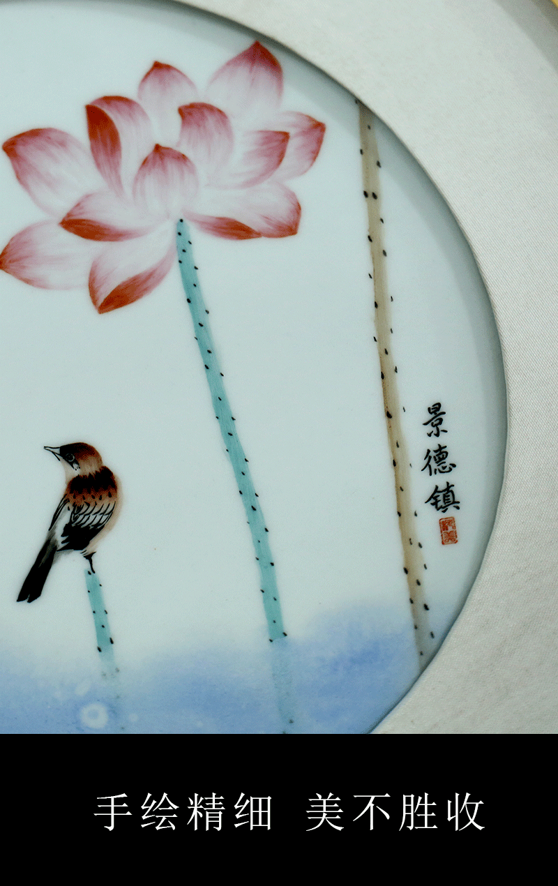 Jingdezhen square porcelain plate painting adornment to live and work in peace and contentment sofa setting wall hangs a picture study office ceramic painting