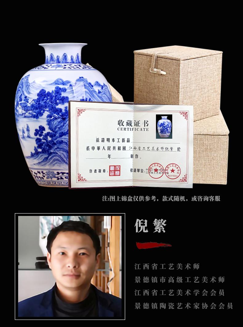 Mesa of jingdezhen blue and white porcelain masters hand draw landscape painting ceramic flower vases porch rich ancient frame ornaments