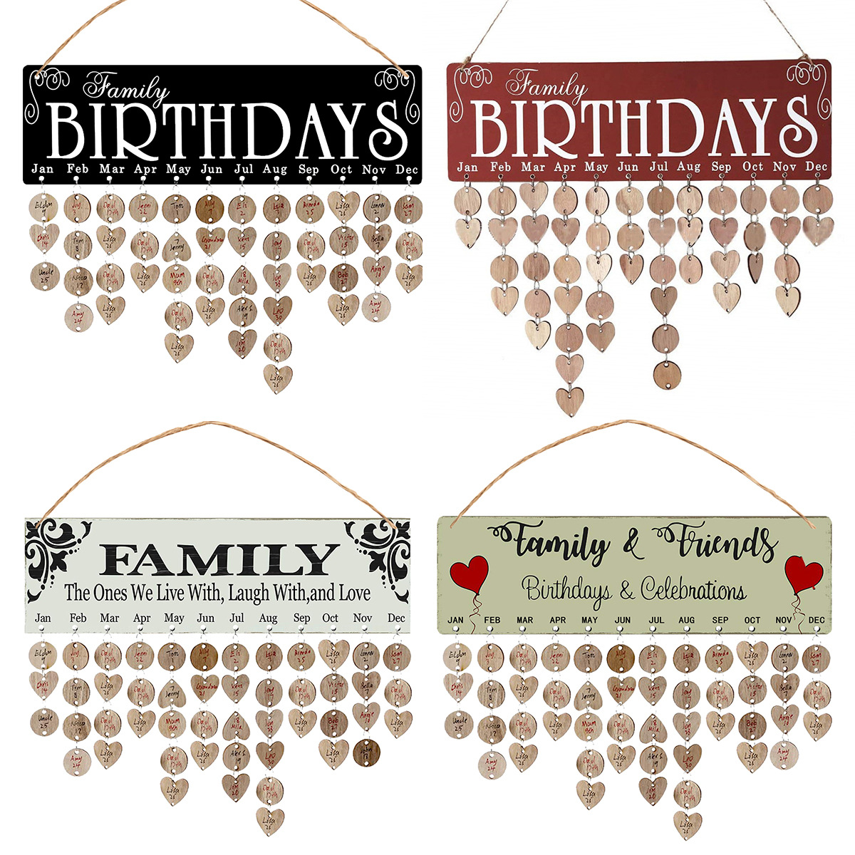 Wooden calendar listed birthday party home decoration pendant creative manual calendar craft gift decoration pendant.