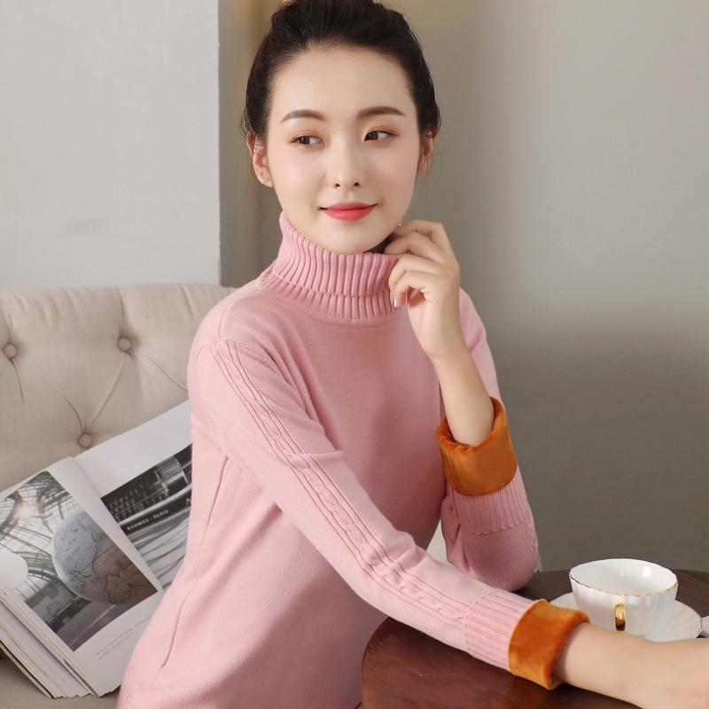 高领毛衣女加绒加厚打底衫2019韩版秋冬季修身短款套头保暖针织衫