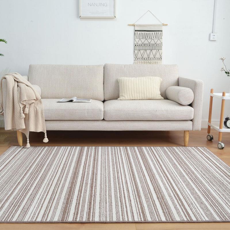 日式素色北欧客厅茶几沙发地毯地垫简约现代条纹卧室床边毯定制