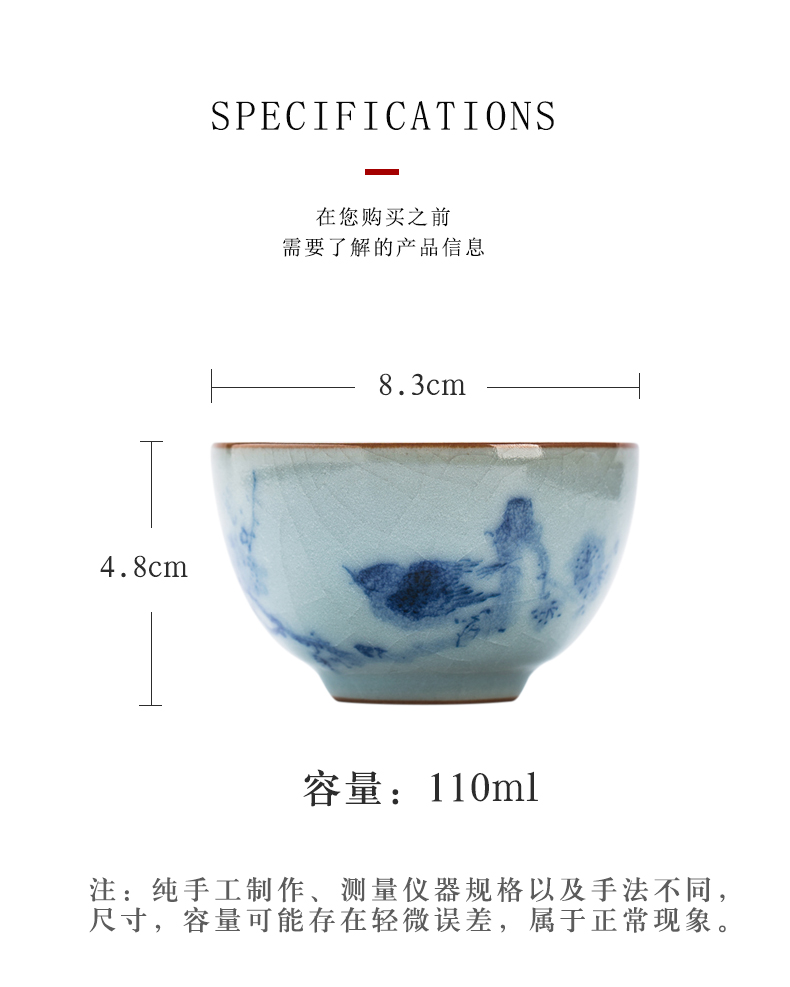 Your up single blue and white porcelain cups pure manual open hand draw freehand brushwork in traditional Chinese painting of flowers and birds can raise ceramic master cup single CPU