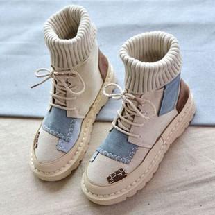 高幫馬丁靴女復古短靴秋冬百搭學生雪地棉靴