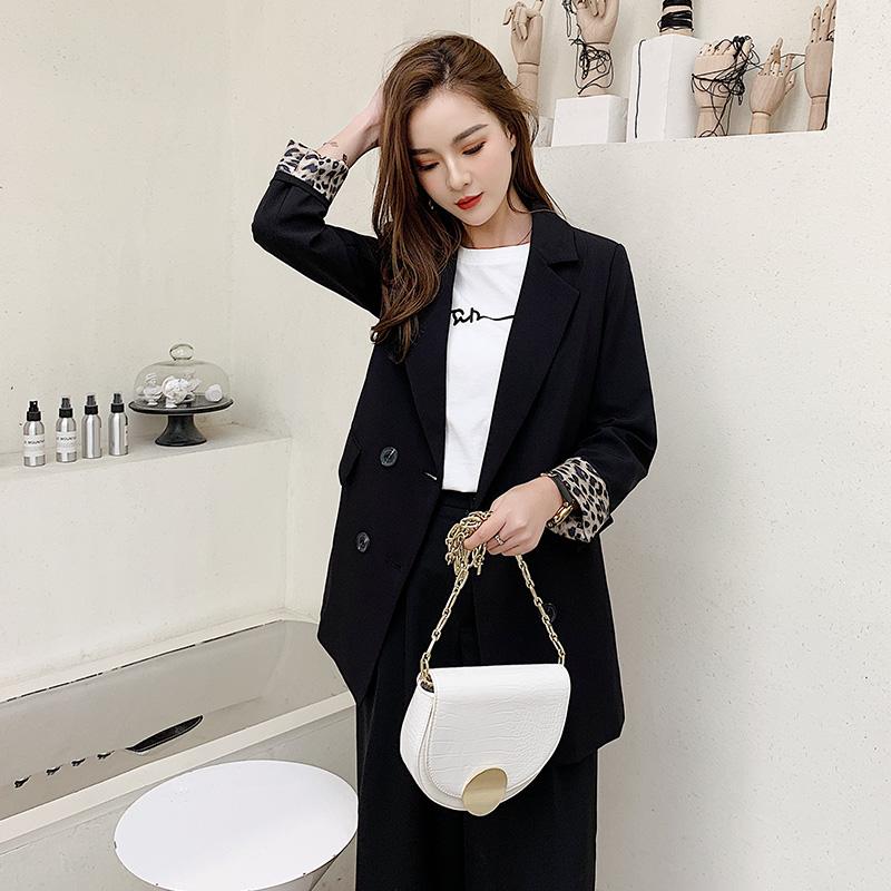 西装外套女春秋季新款韩版宽松豹纹西服上衣chic网红小西装外套女