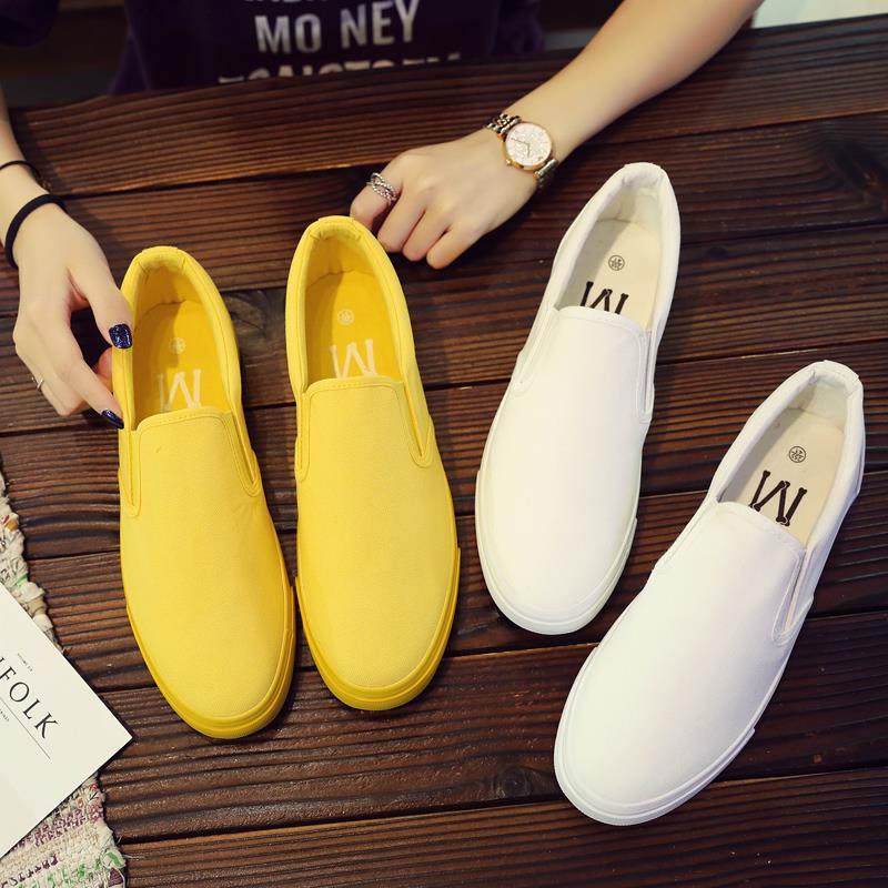 秋季帆布鞋男百搭情侣小白鞋懒人白色布鞋潮男社鞋子