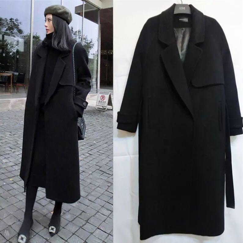 本千家秋季新款黑色中长款毛呢大衣女外套
