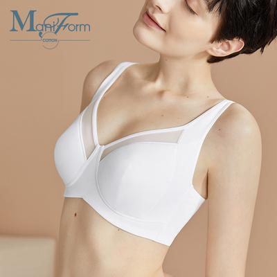 曼妮芬棉质生活棉莫薄大杯文胸防下垂透气无钢圈全罩杯收副乳内衣
