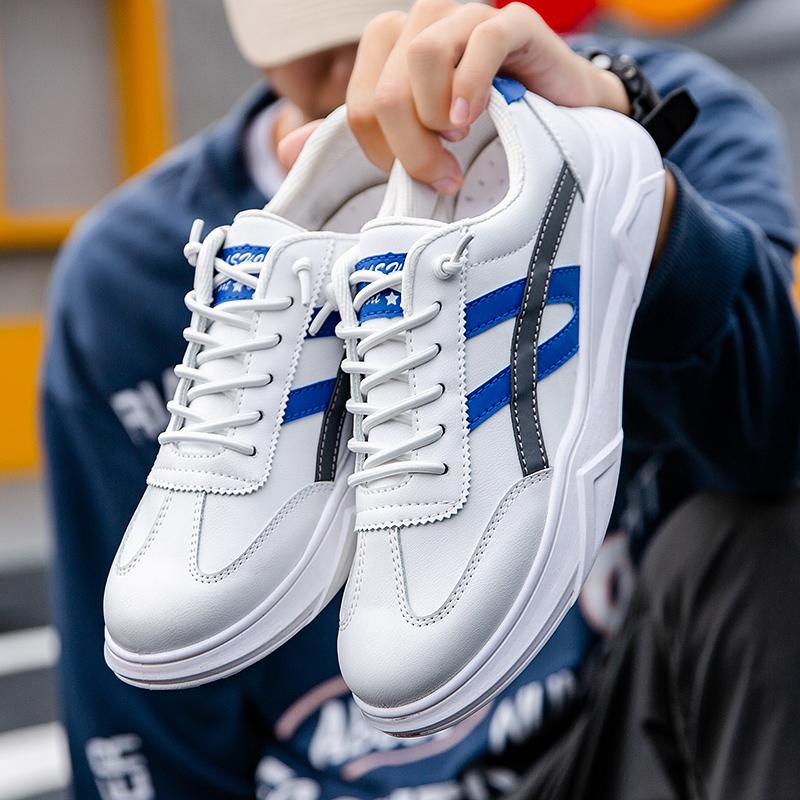 2020新款秋冬小白鞋男防滑软底全皮休闲板鞋韩版青年学生运动鞋男