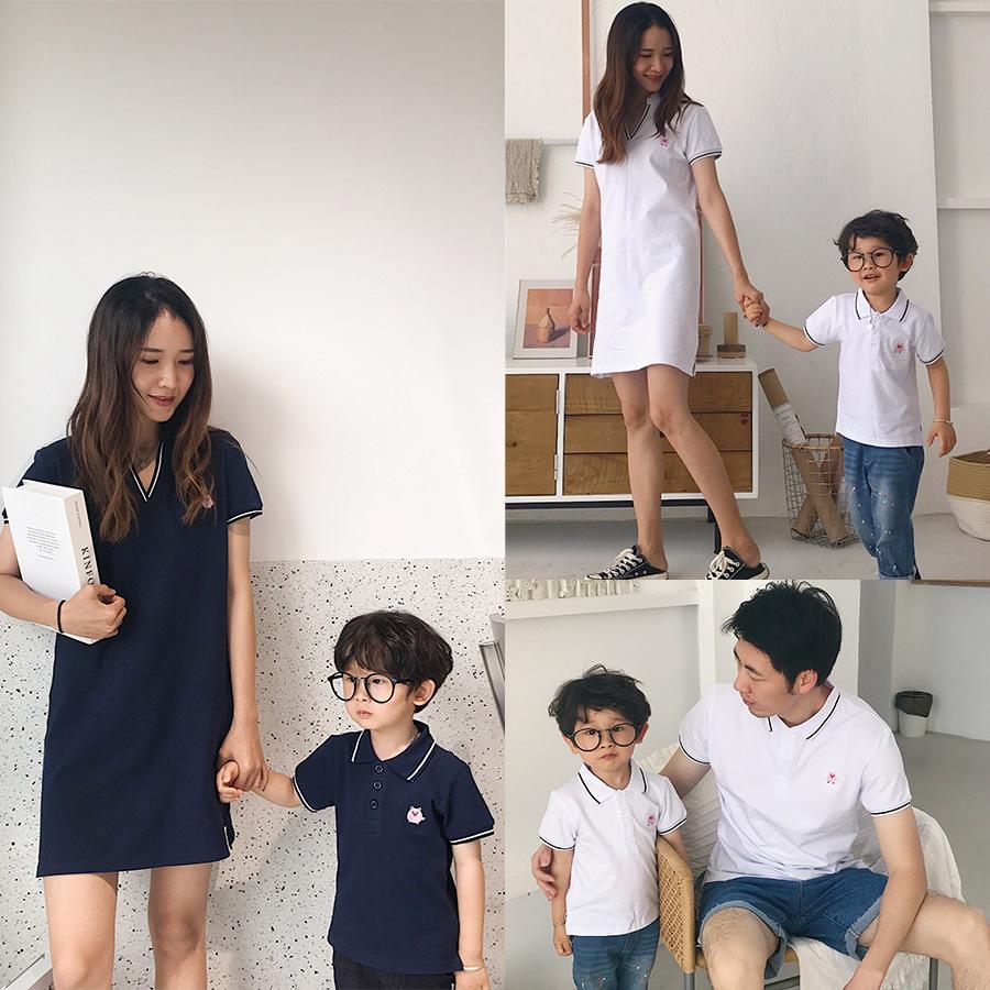 Mạng người nổi tiếng quần áo cha mẹ trẻ em mùa hè 2020 gia đình mới bốn mảnh váy mẹ và con gái nước ngoài mẹ và con áo thun ngắn tay áo thun polo - Trang phục dành cho cha mẹ và con