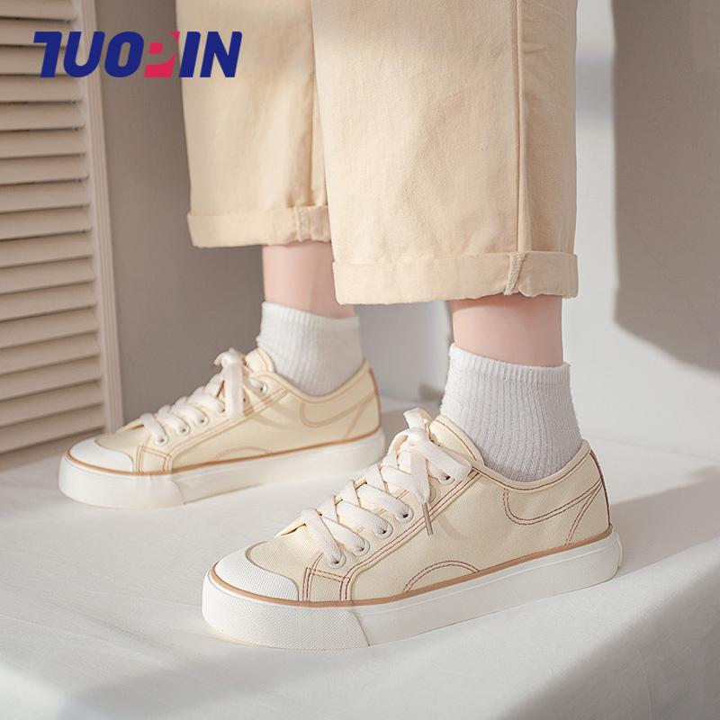 鮀品帆布鞋女ulzzang百搭2021春夏季薄款新款女鞋板鞋女小白鞋女