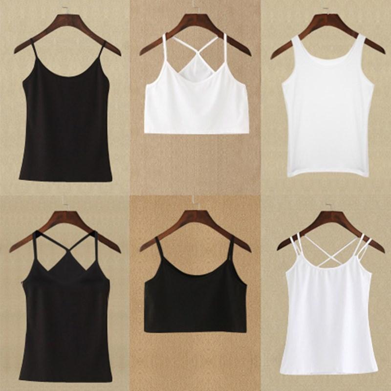 夏外穿黑白色美背吊带性感交叉带短款打底衫内搭小清新上衣背心女
