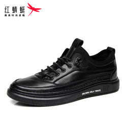 Red Dragonfly men's shoes tide shoes 2021 spring new British casual shoes male youth Korean version of all-match black leather shoes