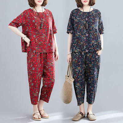 Set cotton 2021 summer new large size women's national wind casual suit female shirt pants two-piece set